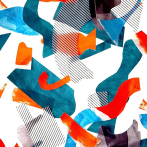 Teal red blue collage cutouts abstract