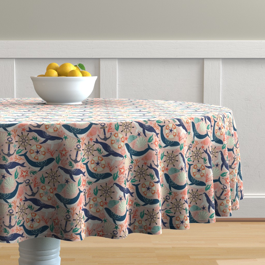 Malay Round Tablecloth featuring Whale Song on Coral Blush by tangerine-tane