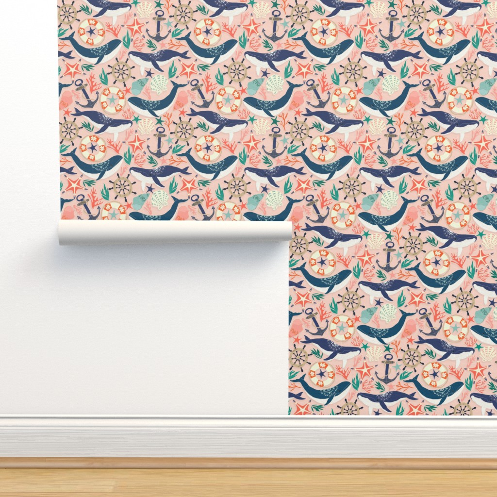 Isobar Durable Wallpaper featuring Whale Song on Coral Blush by tangerine-tane