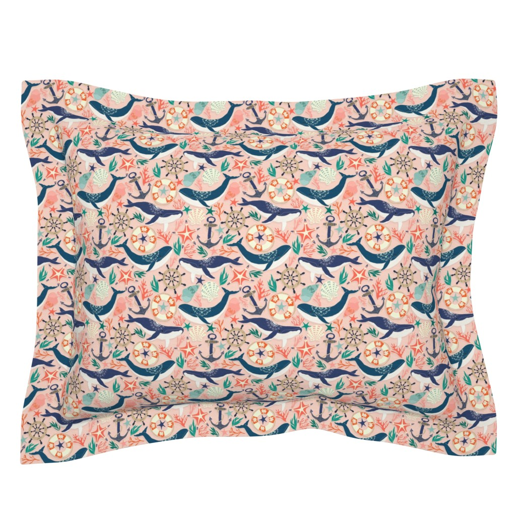 Sebright Pillow Sham featuring Whale Song on Coral Blush by tangerine-tane