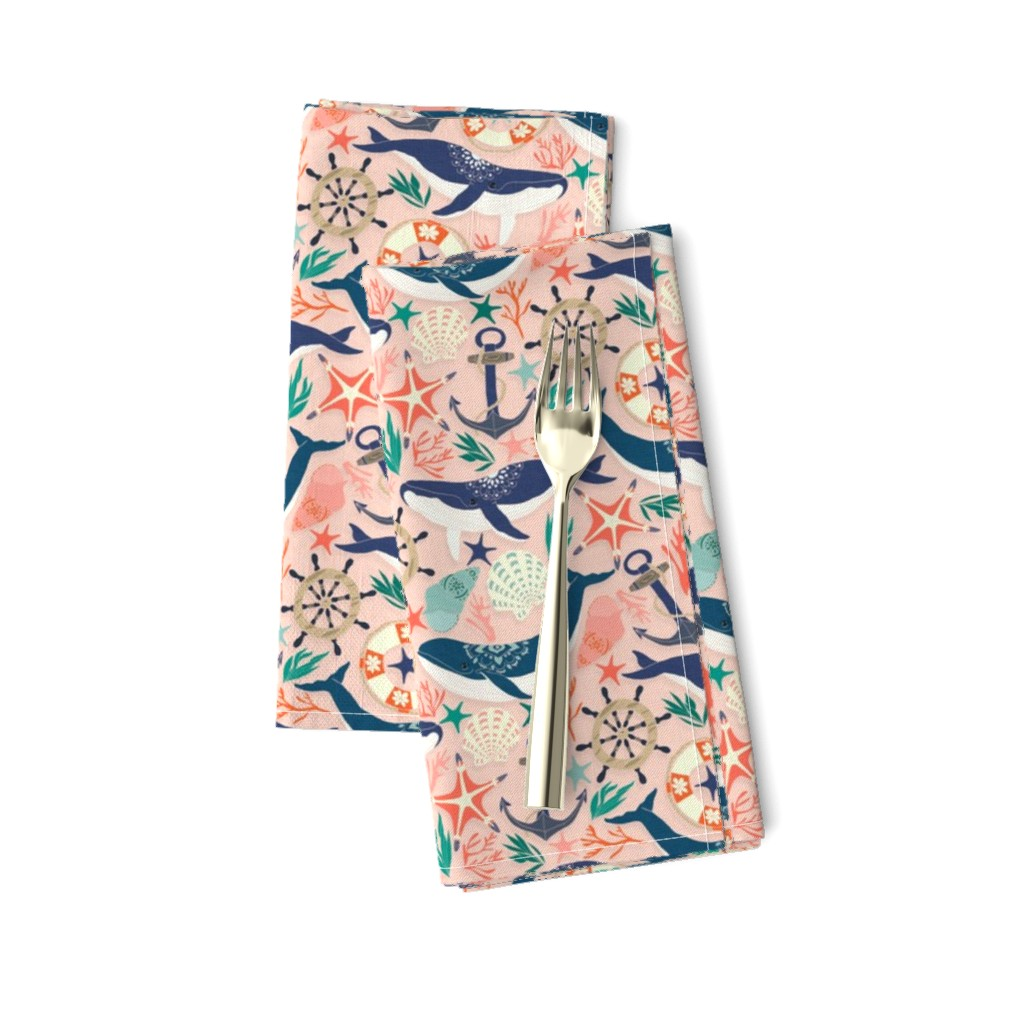 Amarela Dinner Napkins featuring Whale Song on Coral Blush by tangerine-tane
