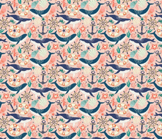Whale Song on Coral Blush