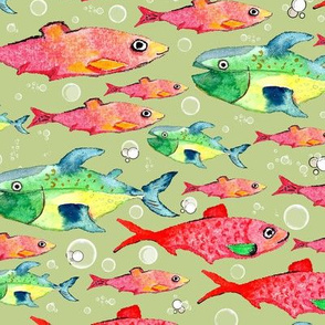 red and green watercolor fishes on green