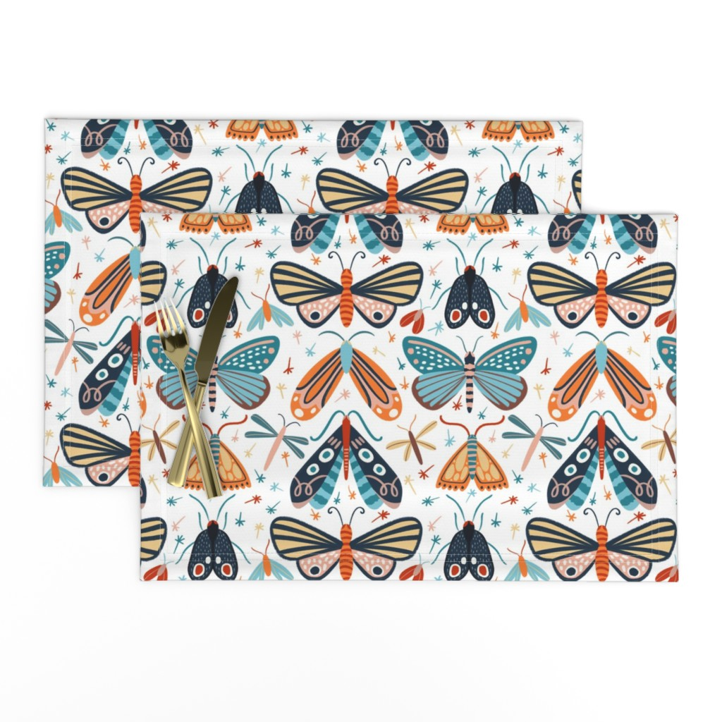 Lamona Cloth Placemats featuring Colourful pollinators by natalia_gonzalez