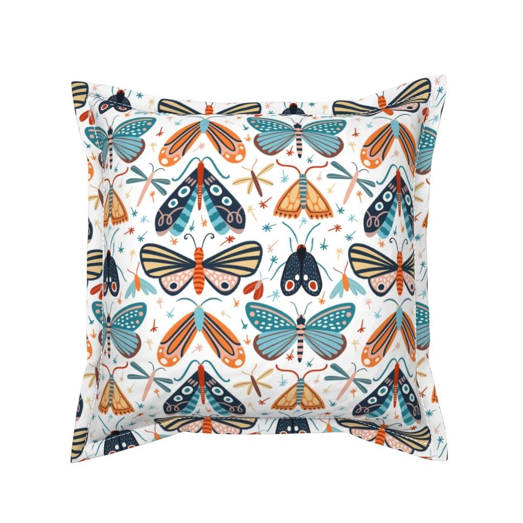 Serama Throw Pillow featuring Colourful pollinators by natalia_gonzalez