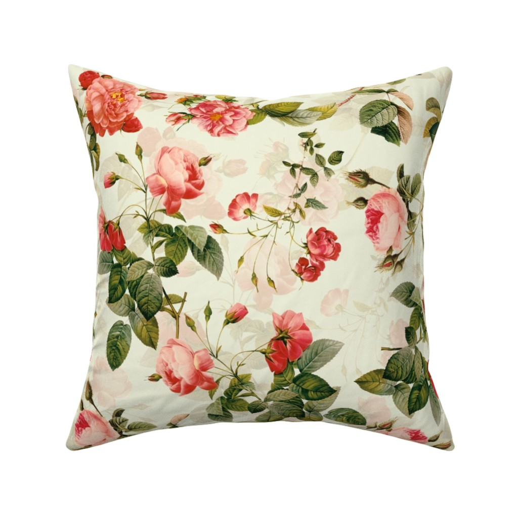 "Catalan Throw Pillow featuring 18""  Pierre-Joseph Redouté-Roses fabric-Antique Roses Bouquet on peach by utart"