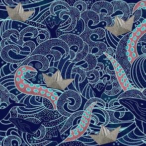 Octopus Ocean Playground Dark Blue
