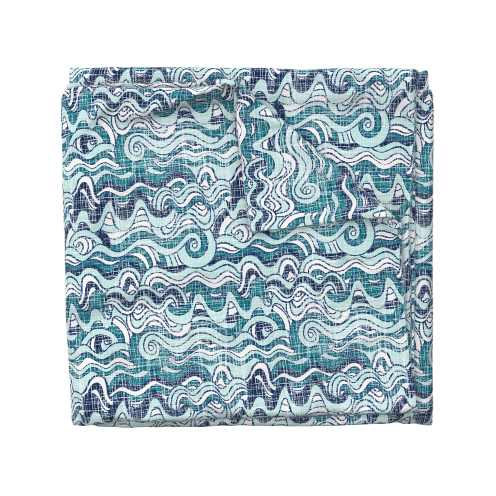Wyandotte Duvet Cover featuring Wavy waves by mrshervi