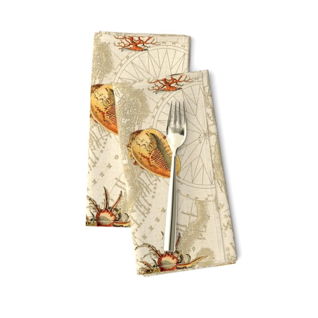 Amarela Dinner Napkins featuring Nautical Sea Shells by mypetalpress