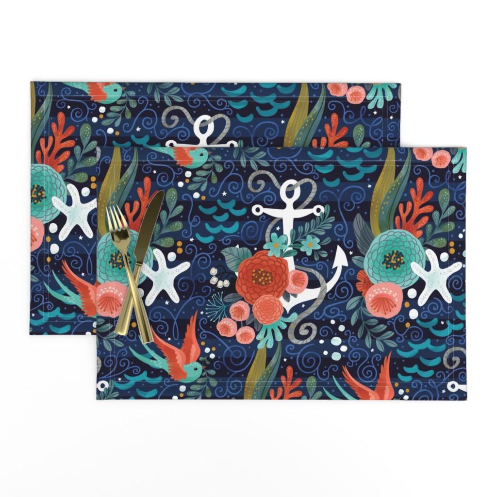 Lamona Cloth Placemats featuring Pretty Nautical by cynthiafrenette