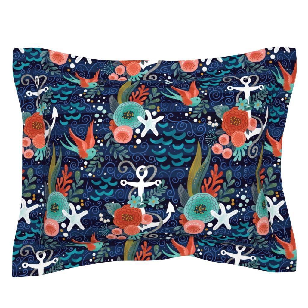 Sebright Pillow Sham featuring Pretty Nautical by cynthiafrenette