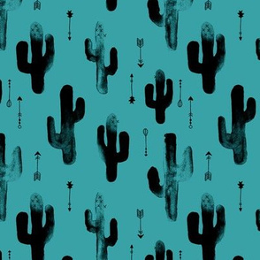 Watercolors ink cactus garden gender neutral geometric arrows cowboy theme winter blue teal
