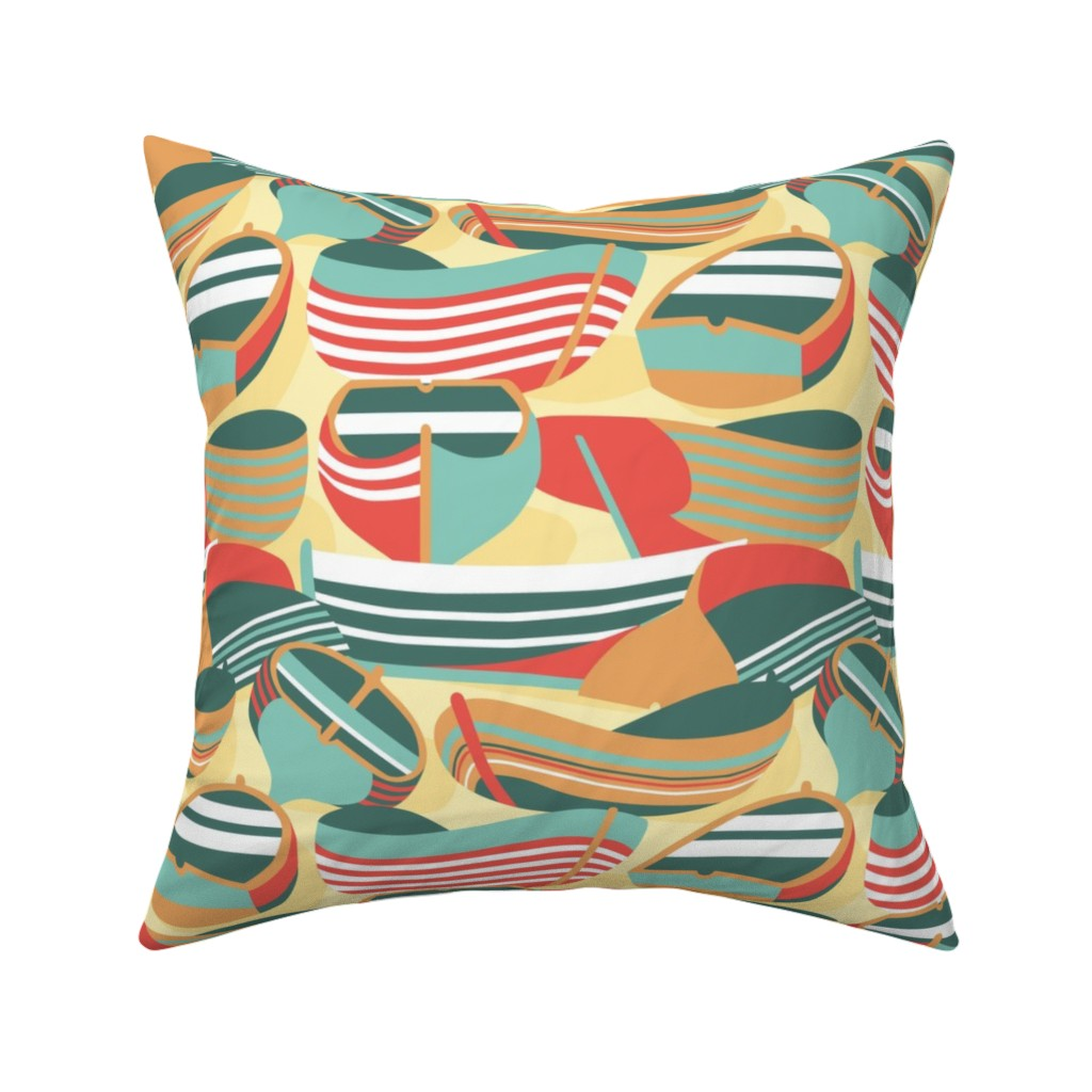 Catalan Throw Pillow featuring Summer Holiday by kittenmoonstudio