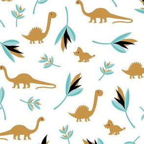 Little Dino jungle birds of paradise flowers and leaves summer ochre blue boys