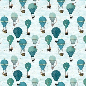Small Scale Forest Animal Hot Air Balloon Ride Day Adventure. turquoise Vintage unisex kids nursery 4 inch 450 dpi