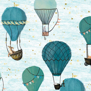 Large Scale woodland Animal Hot Air Balloon Day Adventure/ jade, aqua, gender neutral, nursery, boy, kids, home decor