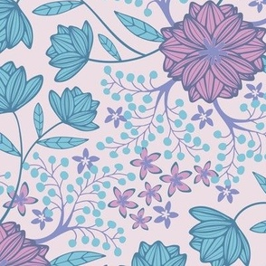 Fantasy Floral Botanical Purple Blue Pink