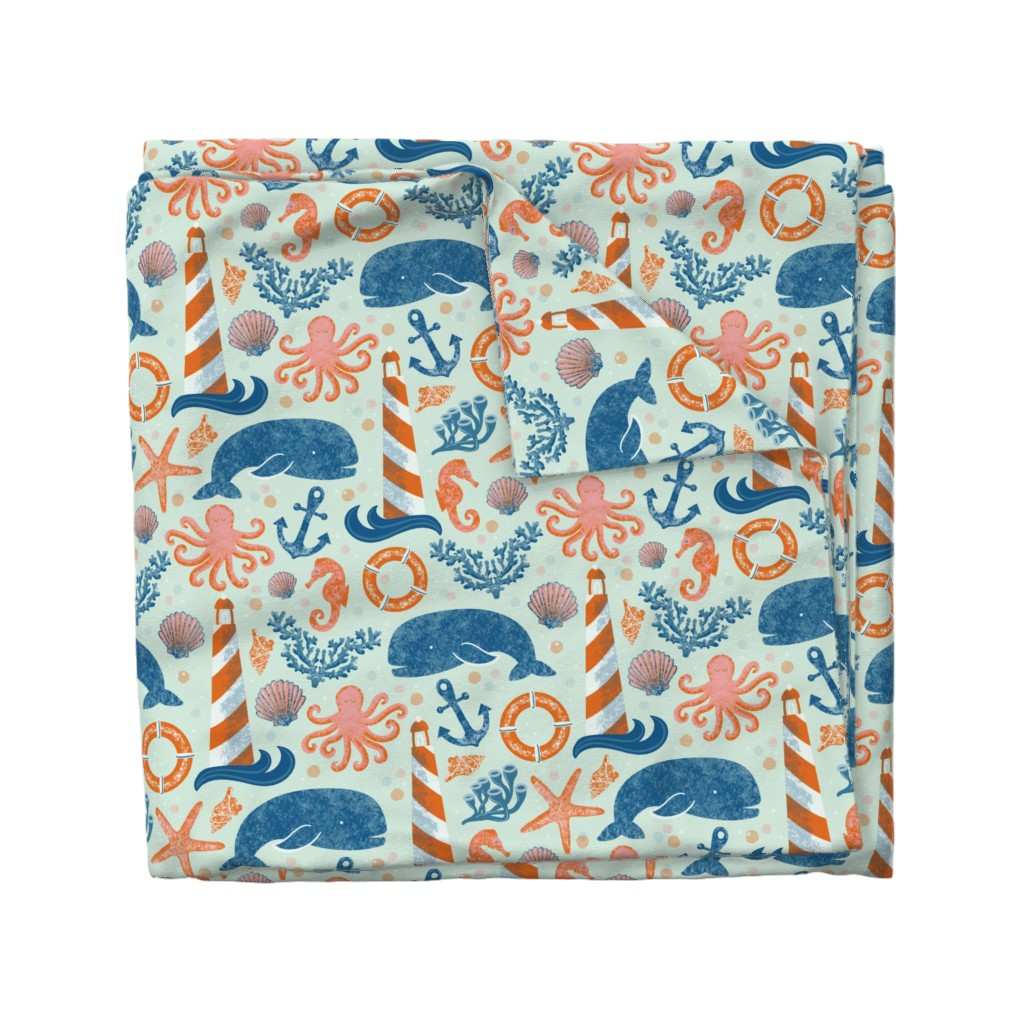 Wyandotte Duvet Cover featuring Large Scale - A whale of an adventure - baby blue by new_branch_studio
