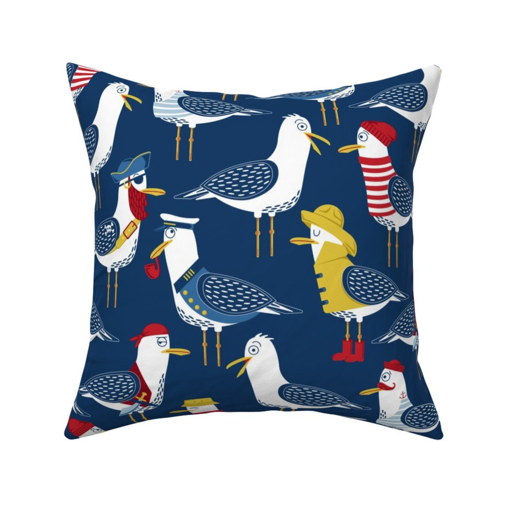 Catalan Throw Pillow featuring Seagull Surprise! by nanshizzle
