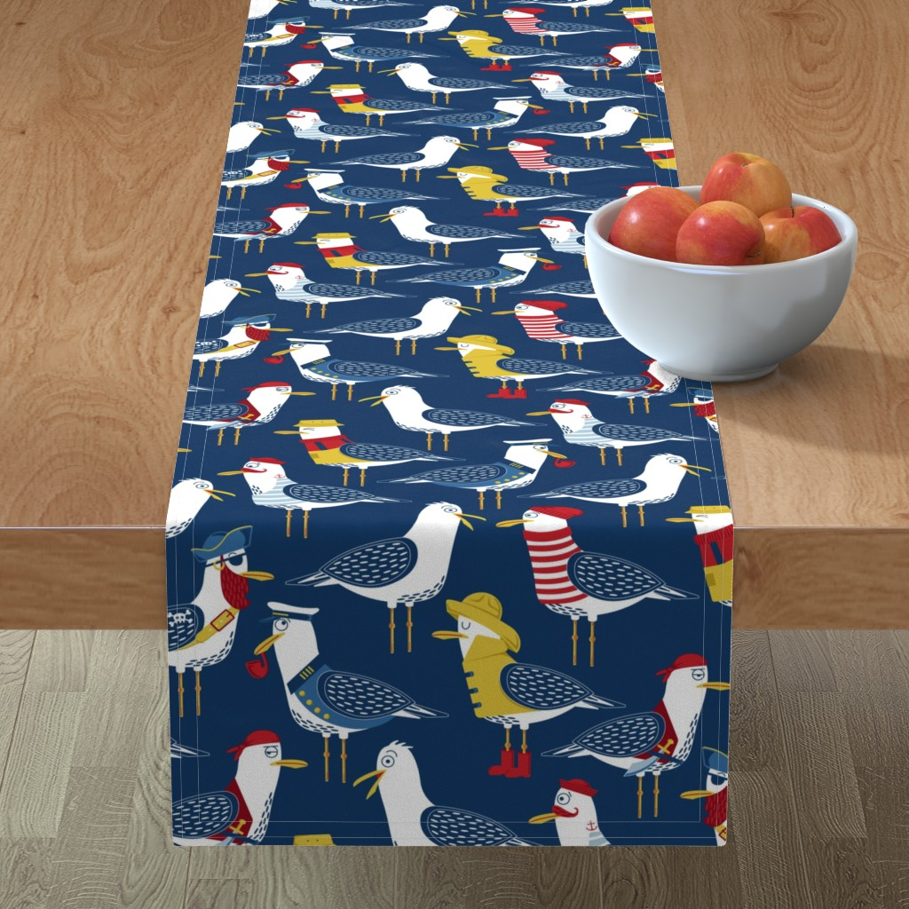 Minorca Table Runner featuring Seagull Surprise! by nanshizzle