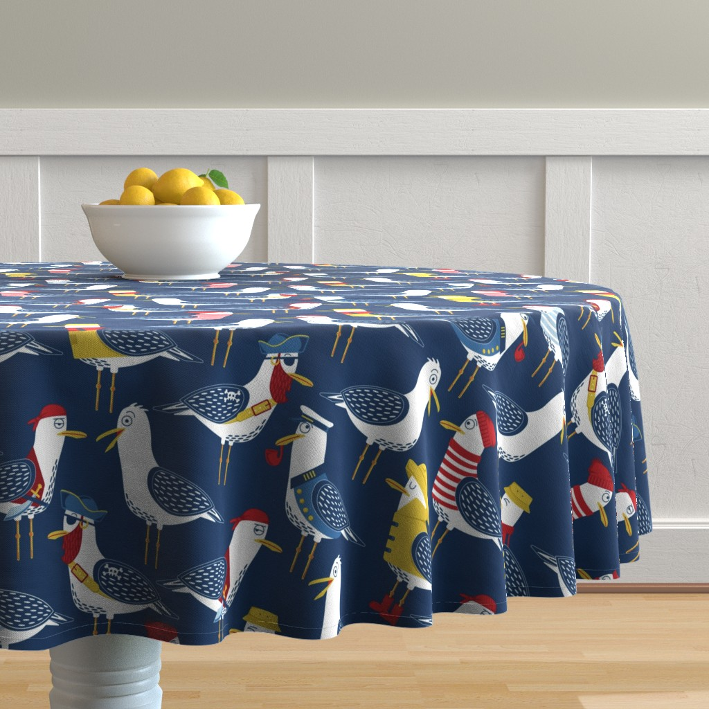 Malay Round Tablecloth featuring Seagull Surprise! by nanshizzle