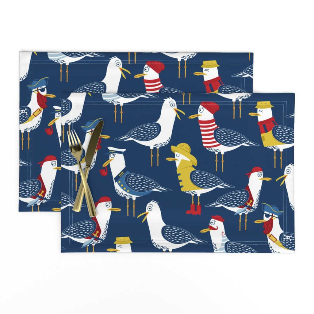 Lamona Cloth Placemats featuring Seagull Surprise! by nanshizzle