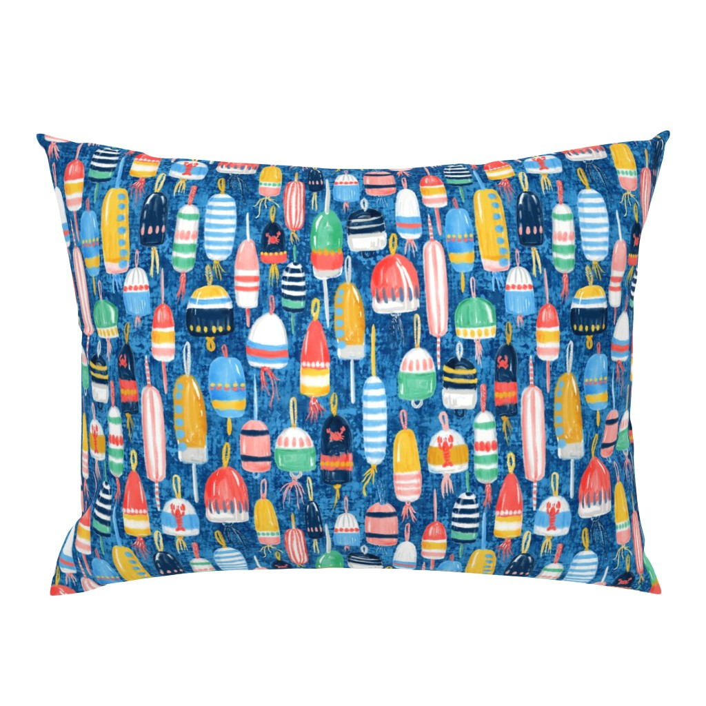 Campine Pillow Sham featuring Lobster Buoys Maximalism by helenpdesigns