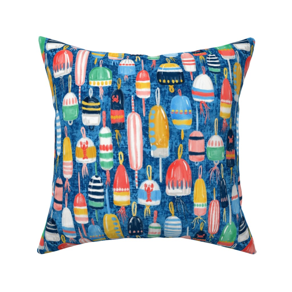 Catalan Throw Pillow featuring Lobster Buoys Maximalism by helenpdesigns