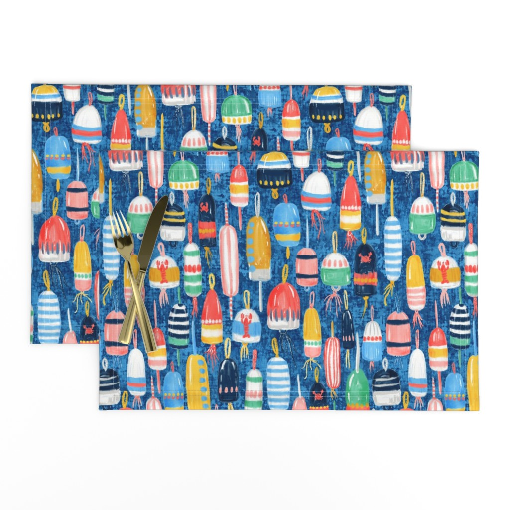 """Lamona Cloth Placemats featuring Lobster Buoys Maximalism 14"""" by helenpdesigns"""