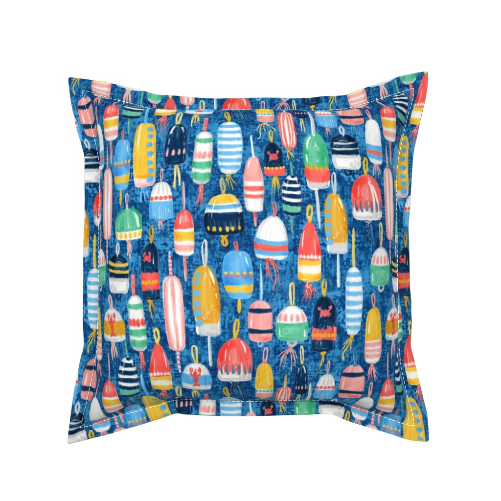 Serama Throw Pillow featuring Lobster Buoys Maximalism by helenpdesigns
