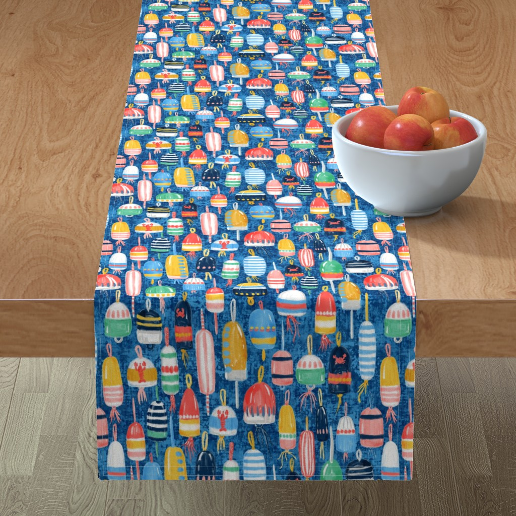 Minorca Table Runner featuring Lobster Buoys Maximalism by helenpdesigns