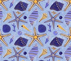 medium scale / Seashells blue and yellow