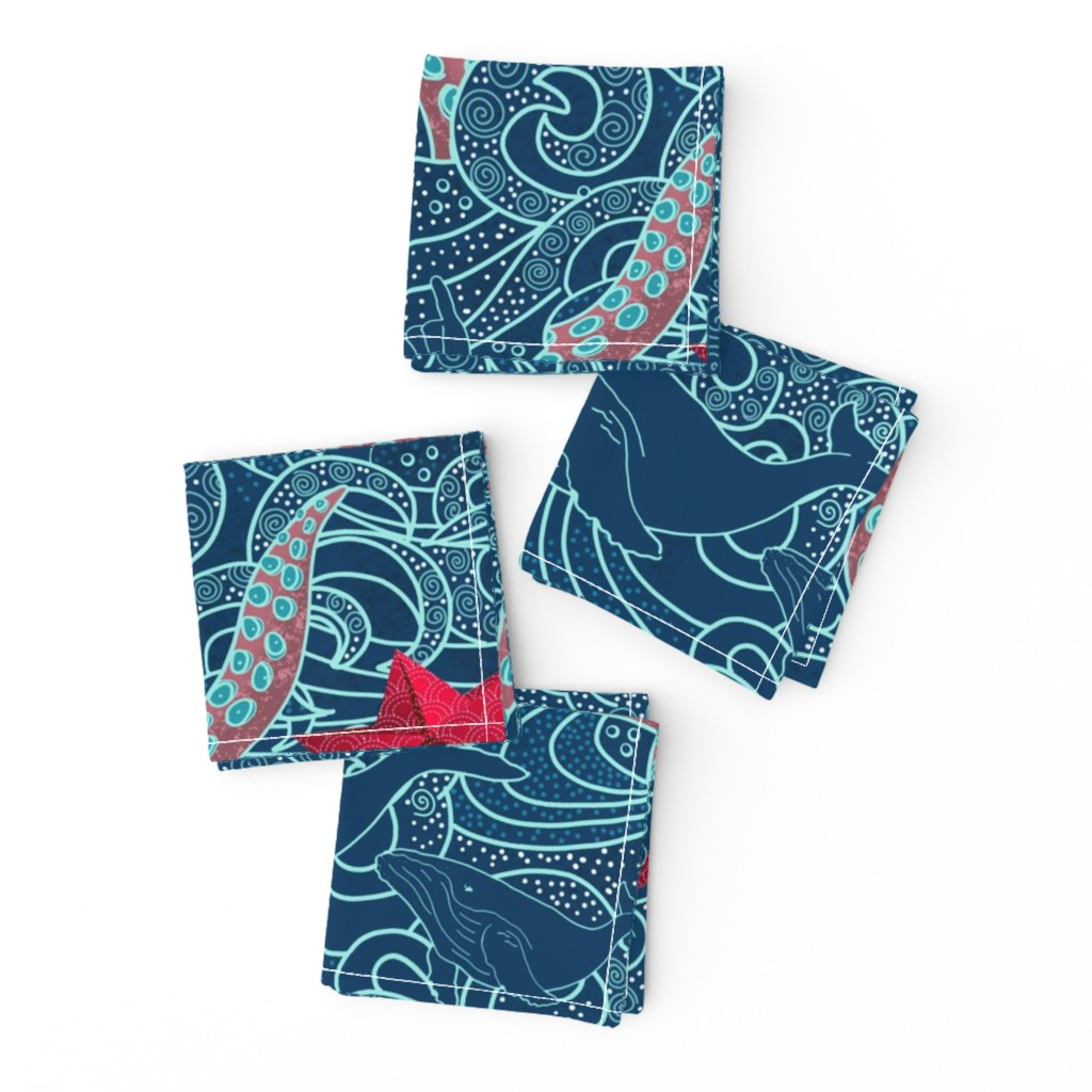 Frizzle Cocktail Napkins featuring Octopus Ocean Playground by honoluludesign