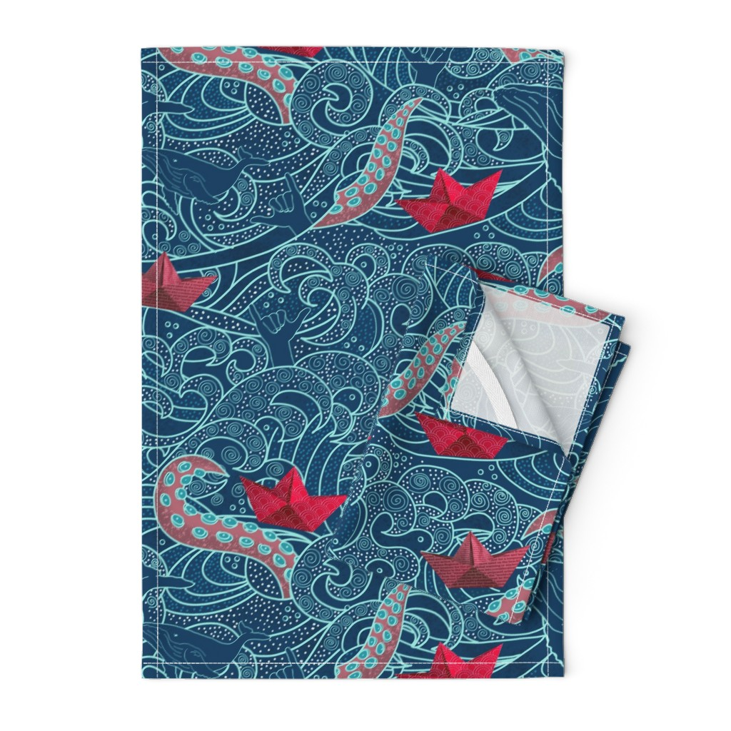 Orpington Tea Towels featuring Octopus Ocean Playground by honoluludesigns