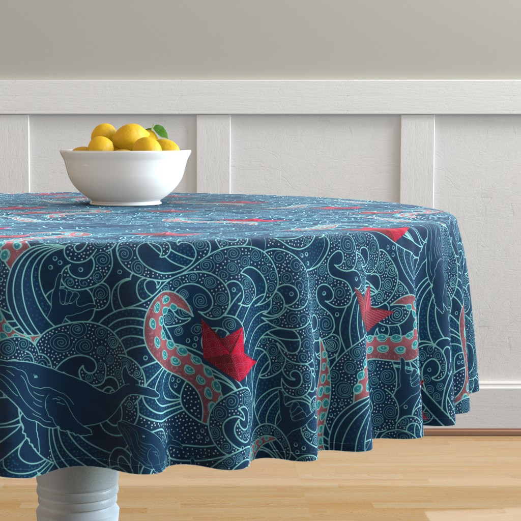 Malay Round Tablecloth featuring Octopus Ocean Playground by honoluludesigns