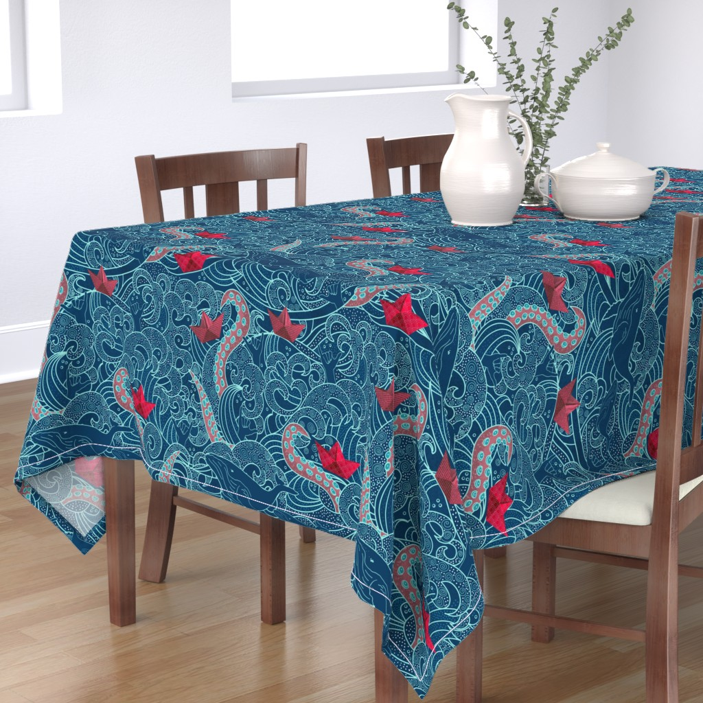 Bantam Rectangular Tablecloth featuring Octopus Ocean Playground by honoluludesigns