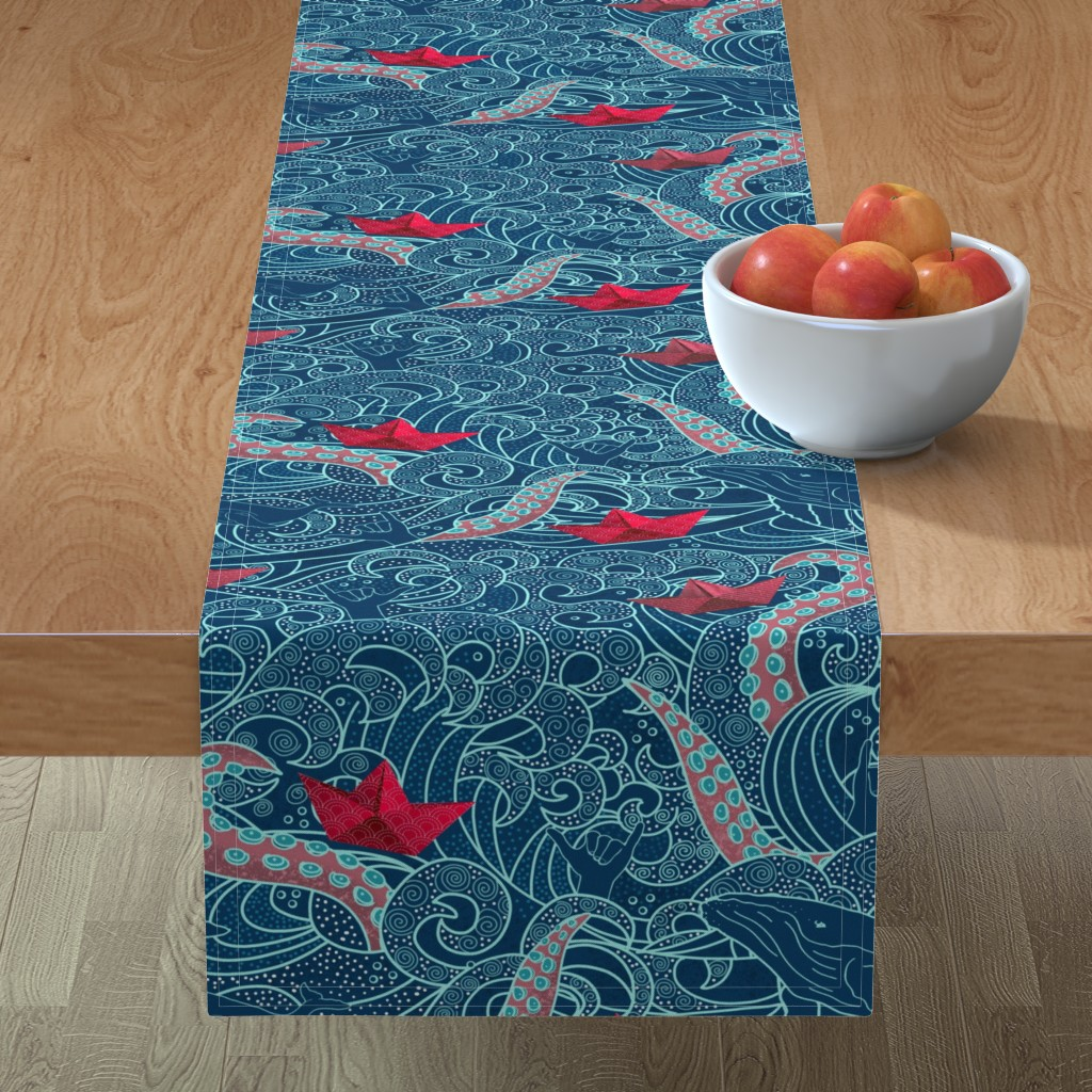 Minorca Table Runner featuring Octopus Ocean Playground by honoluludesign