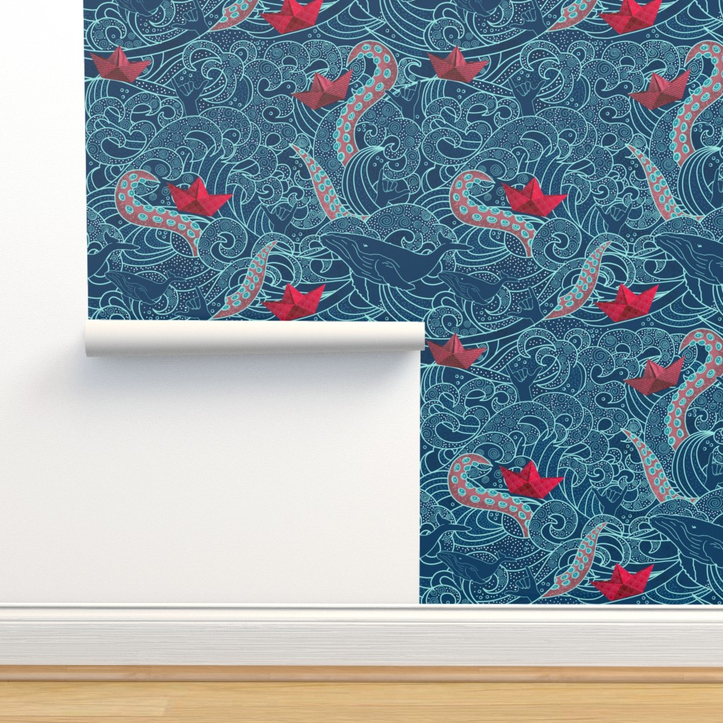Isobar Durable Wallpaper featuring Octopus Ocean Playground by honoluludesign
