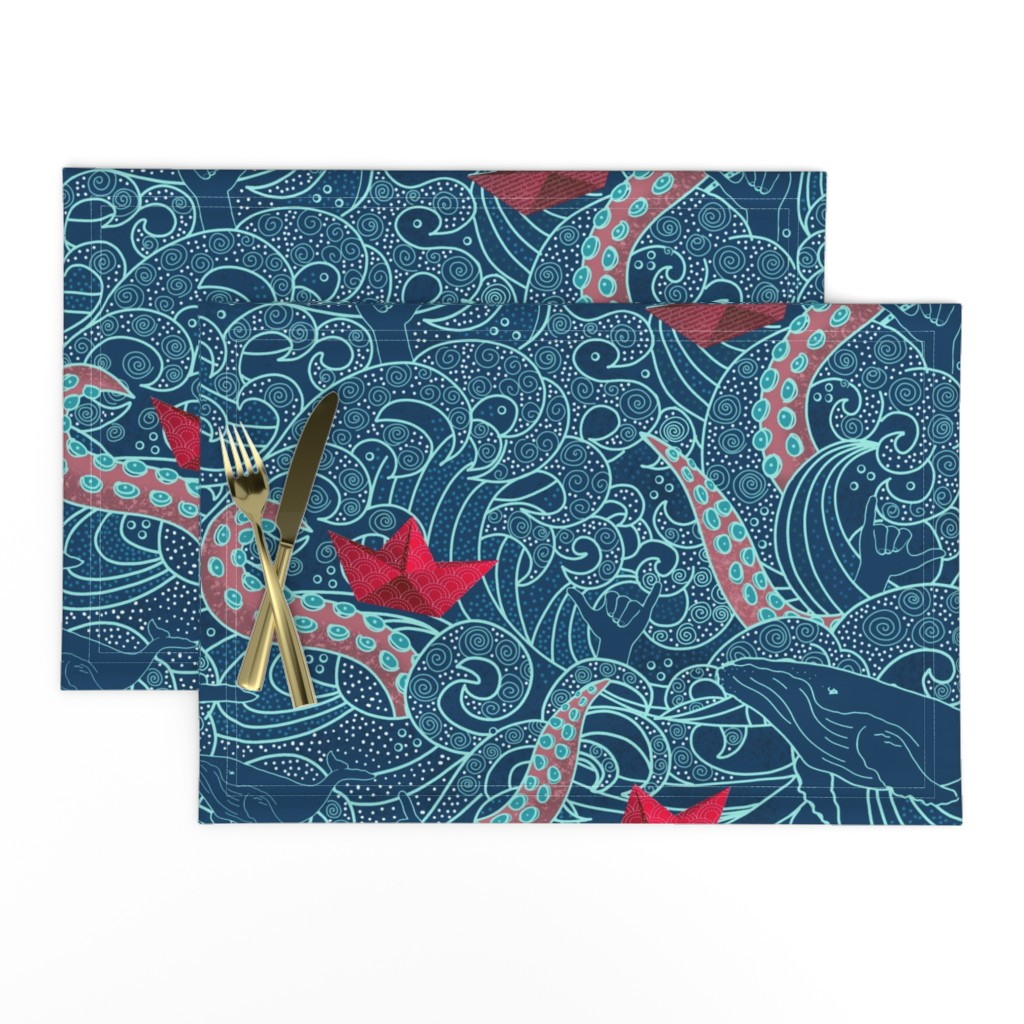 Lamona Cloth Placemats featuring Octopus Ocean Playground by honoluludesigns