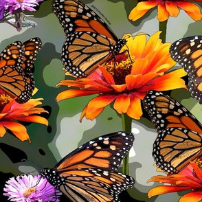 Monarch Butterflies on Green Camo