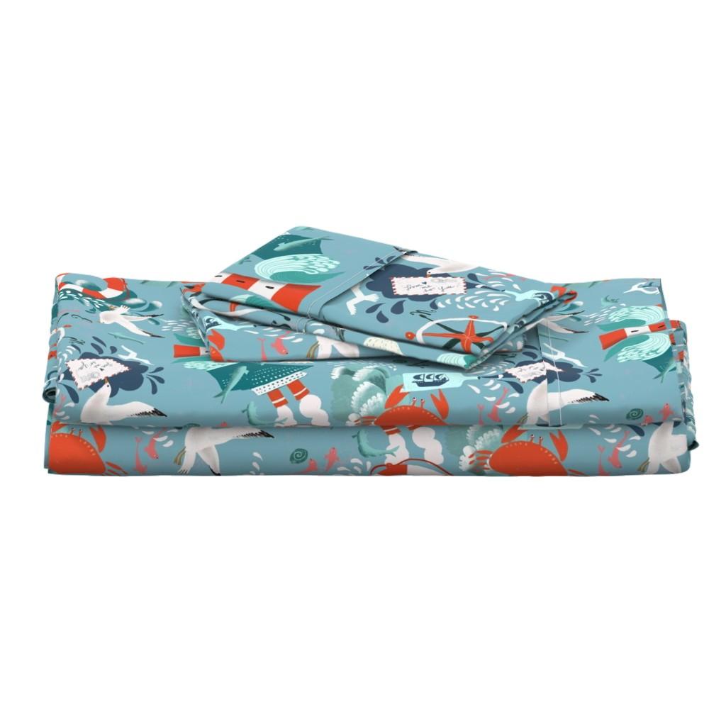 Langshan Full Bed Set featuring ocean splash by miraparadies