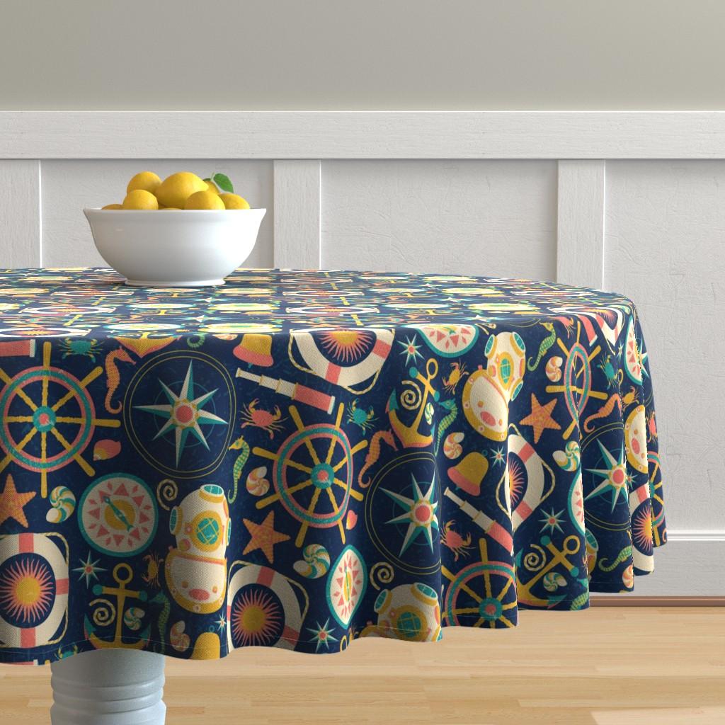 Malay Round Tablecloth featuring Ahoy! by julia_faranchuk