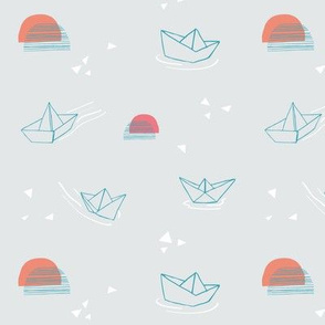 Paper Boats on they float! - Grey small