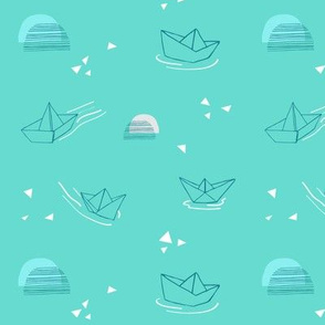 Paper Boats on they float - turquoise small