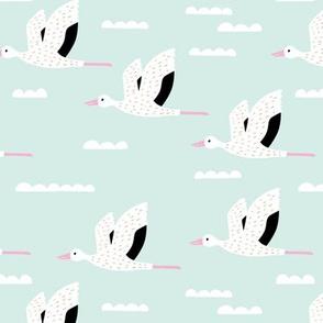 Birds and clouds in the sky Scandinavian crane and stork design summer girls pink mint