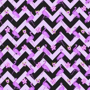 Black and Purple Zig Zag With Flamingos and hawaiian flowers Pattern