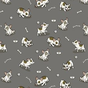Sweet Frenchie Bulldog Puppies Pattern Grey Background