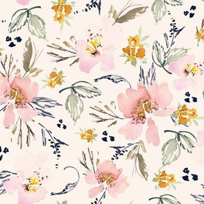 Medium bone ecru background floral watercolour flowers