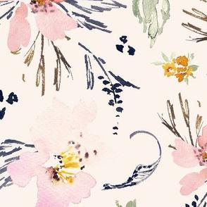 JUMBO Bone ecru background floral watercolour flowers