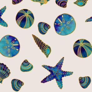 Beach Treasures Aqua Blue Watercolor Seashells